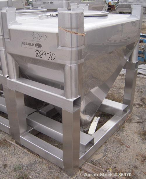 "Used- GEI Gallay Stackable Tote Bin, Approximately 20 Cubic Feet, Stainless Steel. 43-1/2"" wide x 28"" long x 8"" straight sid..."