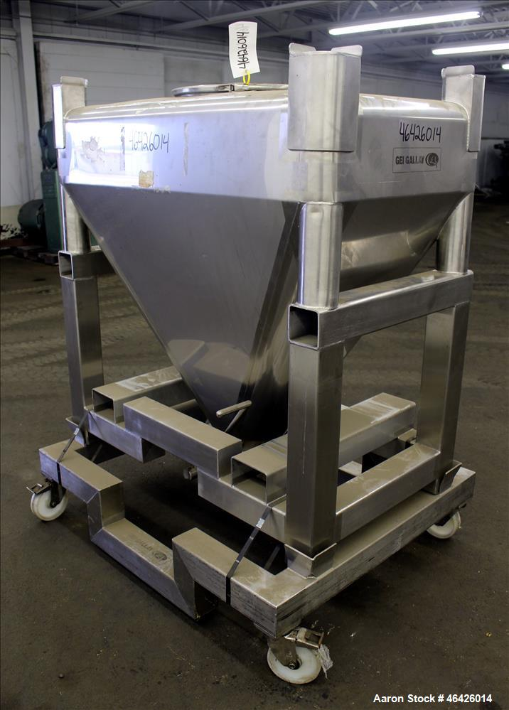 """Used- GEI Gallay Stackable Powder Tote Bin, Approximately 10 Cubic Feet, 316 Stainless Steel. Approximately 48"""" wide x 30"""" l..."""