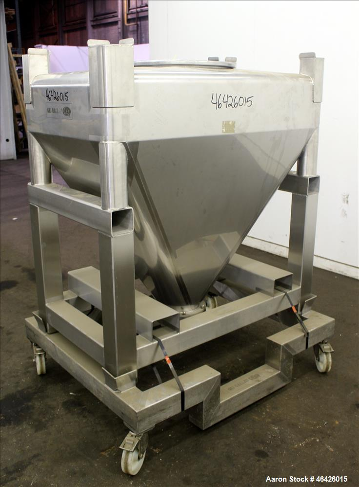 "Used- GEI Gallay Stackable Powder Tote Bin, Approximately 10 Cubic Feet, 316 Stainless Steel. Approximately 48"" wide x 30"" l..."