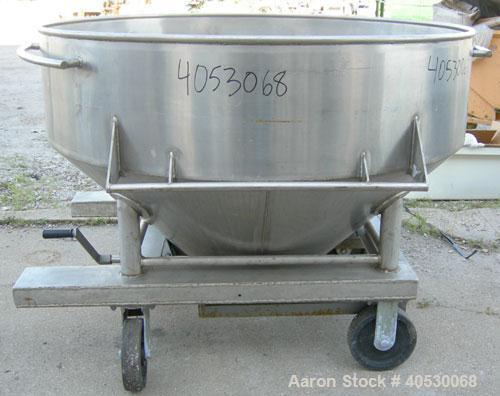 "Used- Gemco Portable Storage Hopper, 40 cubic feet capacity, model PH-004-3223, 304 stainless steel. 62"" diameter x 15"" stra..."