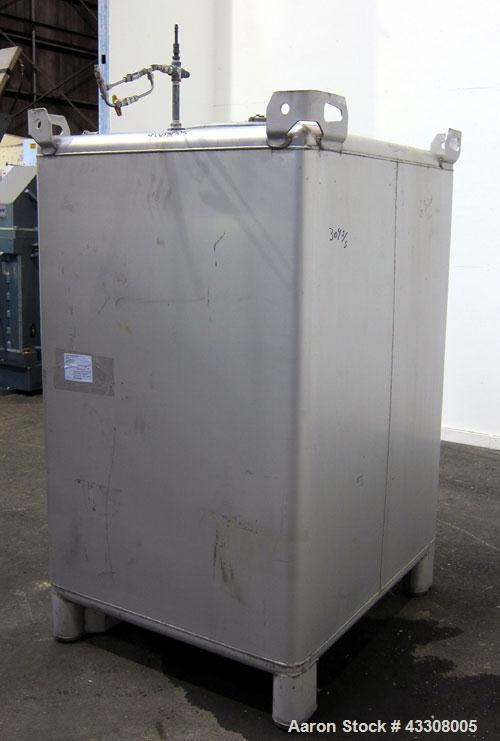 """Used- Hoover Materials Stackable Liquid Tote Bin, 73.5 Cubic Feet (550 Gallon), 304 Stainless Steel. 48"""" long x 42"""" wide x 6..."""