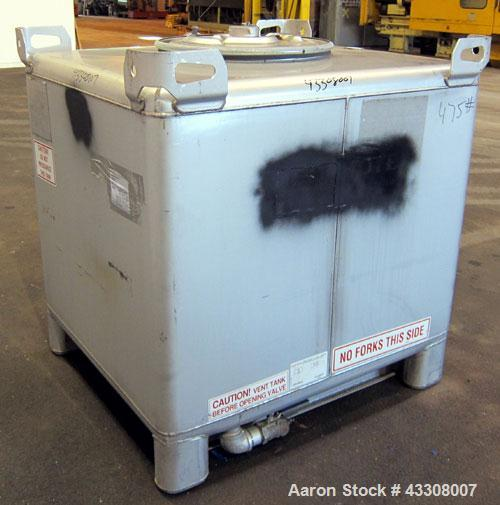 "Used- Hoover Materials Stackable Liquid Tote Bin, 46.7 Cubic Feet (350 Gallon), 304 Stainless Steel. 48"" long x 42"" wide x 3..."