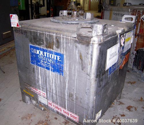 "Used- Hoover Liquid Tote Bin, 46.7 cubic feet (395 Gallon), Stainless steel. Rated 9.5 psi. 47"" x 40"" x 45"" tall. Top manway..."