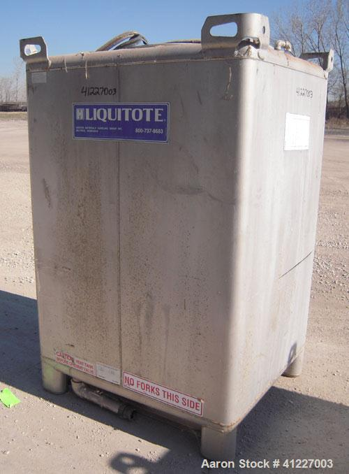 """Used- Hoover Materials Stackable Liquid Tote Bin, 73.5 Cubic Feet (550 Gallon), 304 Stainless Steel.  48"""" long x 42"""" wide x ..."""