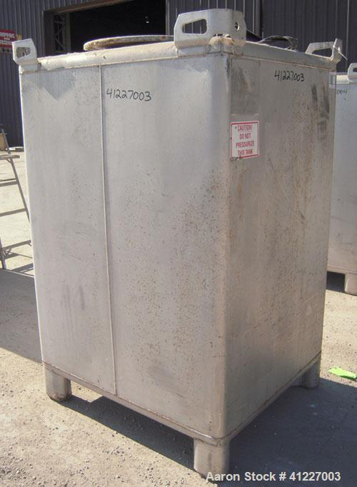 "Used- Hoover Materials Stackable Liquid Tote Bin, 73.5 Cubic Feet (550 Gallon), 304 Stainless Steel.  48"" long x 42"" wide x ..."