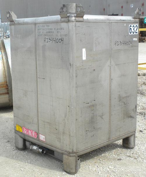"""Used- Hoover Materials Stackable Liquid Tote Bin, 52.7 cubic feet (395 gallon), 304 stainless steel. Approximately 41"""" long ..."""