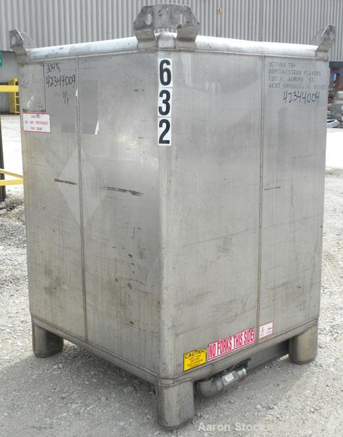 "Used- Hoover Materials Stackable Liquid Tote Bin, 52.7 cubic feet (395 gallon), 304 stainless steel. Approximately 41"" long ..."