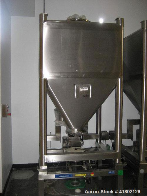 "Used- Zanchetta (IMA) PH Tote Bin, approximately 52.9 cubic feet (1500 liter), stainless steel. 46"" long x 46"" wide x 30"" st..."