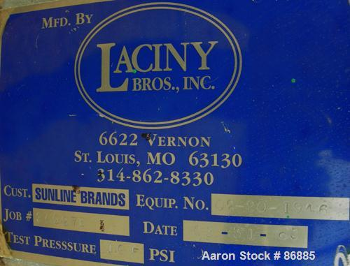 """USED: Laciny Brothers Hopper, approximately 40 cubic feet, 304 stainless steel. 42"""" diameter x 50"""" straight side x 48"""" coned..."""