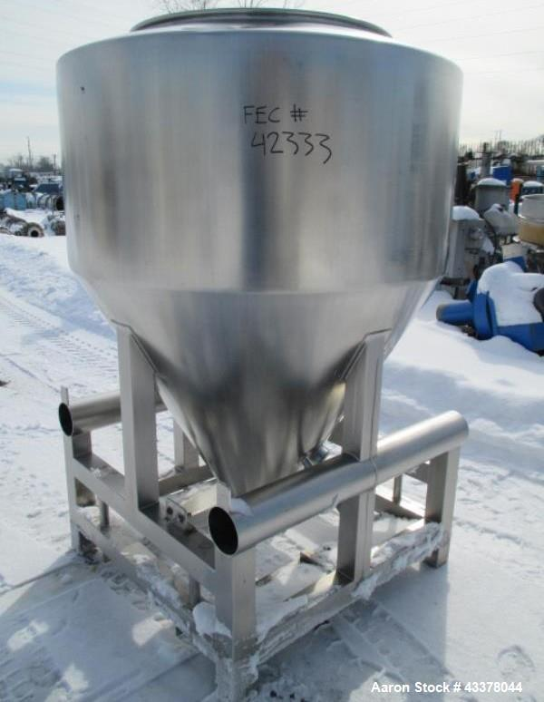 """Used-LB Bohle bin, model MCL1200S, 1200 liter(42 cu ft) capacity, stainless steel construction, approximately 60"""" diameter x..."""