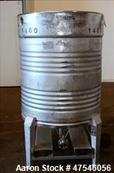 "Bin, 800 Liter, 28 Cubic Feet, 304 Stainless Steel, Vertical. Approximate 40"" diameter x 30"" straigh..."