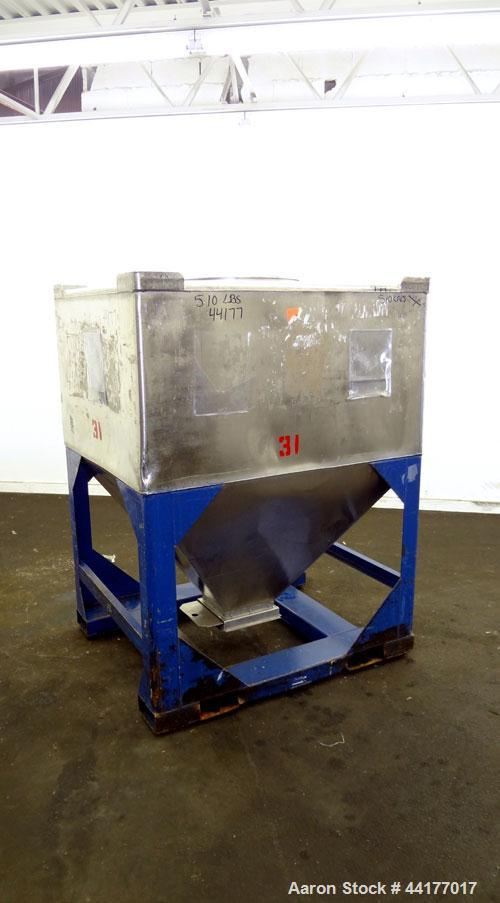 """Used- Mid-States Manufacturing & Engineering Powder Tote Bin, 304 Stainless Steel. Approximate 56.8 cubic feet capacity. 53""""..."""