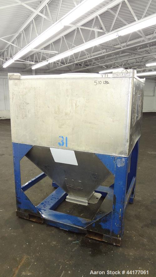 "Used- Mid-States Manufacturing & Engineering Powder Tote Bin, 304 Stainless Steel. Approximate 56.8 cubic feet capacity. 53""..."