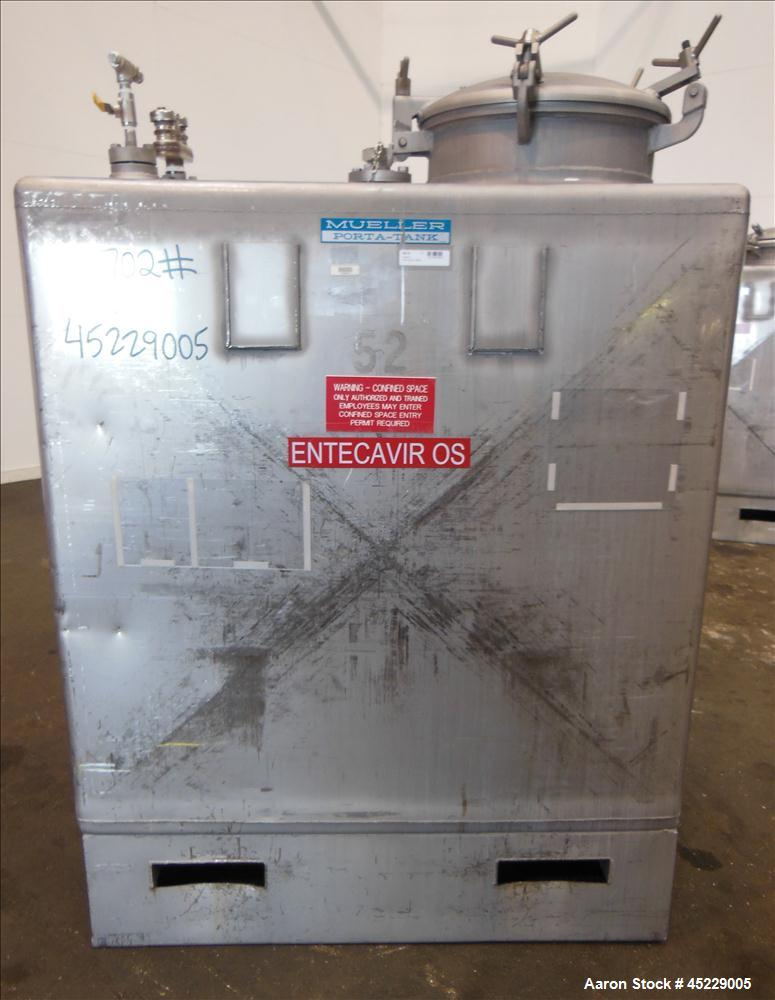 Used- 520 Gallon Stainless Steel Mueller Porta Tote Liquid Storage Tote