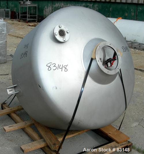 "Used- Mueller Product Hopper, approximately 23 cubic feet, 304 stainless steel. 48"" diameter x 20"" strainght side x 42"" cone..."