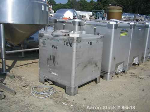 """USED: Mueller stackable tote bin, 46 cubic feet (350 gallon), stainless steel. 44"""" wide x 44"""" long x 36"""" straight side. Rate..."""