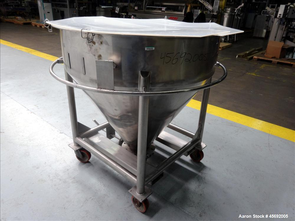"""Used- Expert Hass Metal Cone-Style Tote Bin, 110 Gallon, 14 Cubic Feet, Stainless Steel. 48"""" diameter x 12"""" straight side. F..."""
