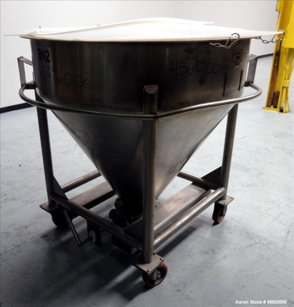 "Used- Expert Hass Metal Cone-Style Tote Bin, 110 Gallon, 14 Cubic Feet, Stainless Steel. 48"" diameter x 12"" straight side. F..."