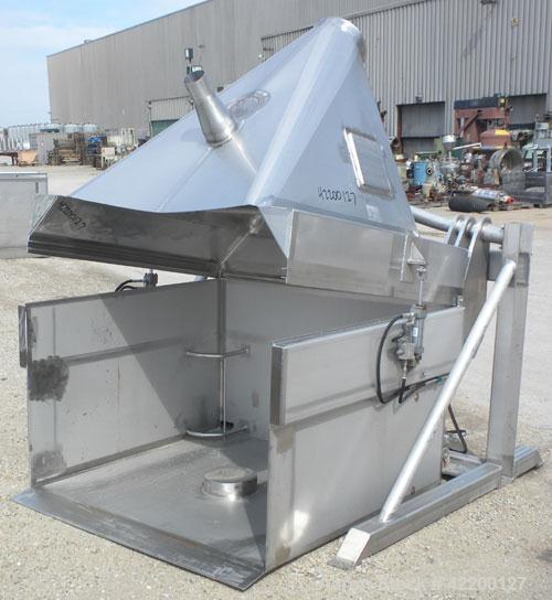 Used- Custom Powder Systems Bin/Drum Dumper, model 1176200, 304 stainless steel. 3000 pound capacity. Designed for (2) 55 ga...