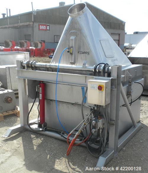 Used- Custom Powder Systems Bin/Drum Dumper, model 1176200, 304 stainless steel. 3000 pound capacity. Designed for (2) 55 ga...