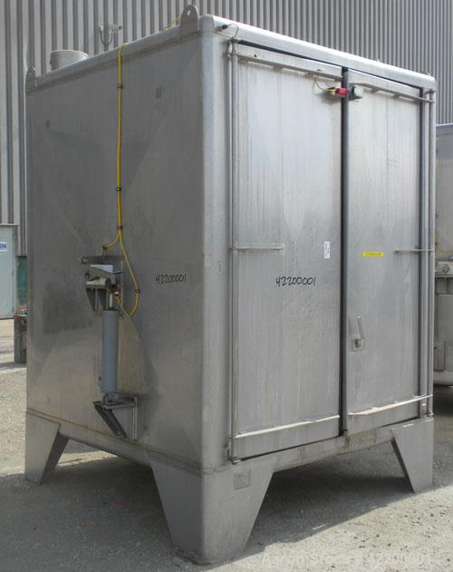 Used- Custom Powder Systems Dual Cabinet Tote Washers, Model 1176300, 304 stainless steel. (2) Cabinets 85'' wide x 80'' dee...