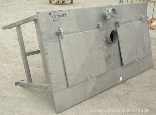 """Used- Hopper, Approximately 40 Cubic Feet, 304 Stainless Steel. 92"""" long x 36"""" wide x 5"""" straight side x 44"""" cone bottom. Bo..."""