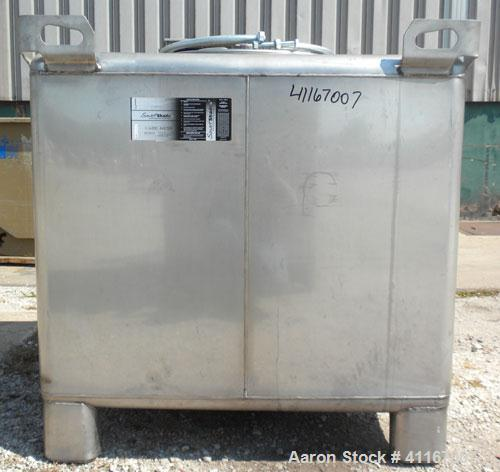 Used- IBC Precision Stackable Liquid Tote, 46.7 cubic feet ( 350 gallon), model SS350, 304 stainless steel. 48'' long x 42''...