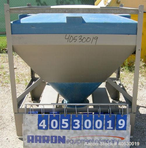 """Used- Plastic Tote Bin, approximately 10 cubic feet (75 gallon). 49"""" wide x 43"""" long x 8"""" straight side x 36"""" cone bottom. 2..."""
