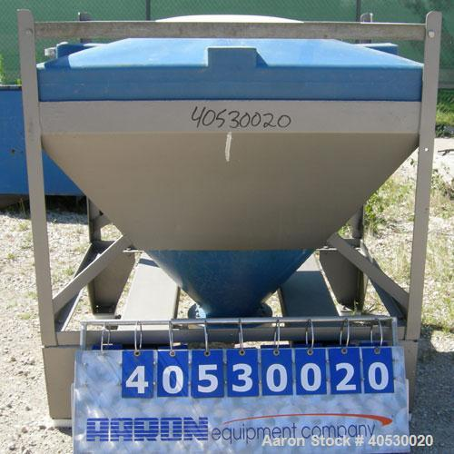 "Used- Plastic Tote Bin, approximately 10 cubic feet (75 gallon). 49"" wide x 43"" long x 8"" straight side x 36"" cone bottom. 2..."