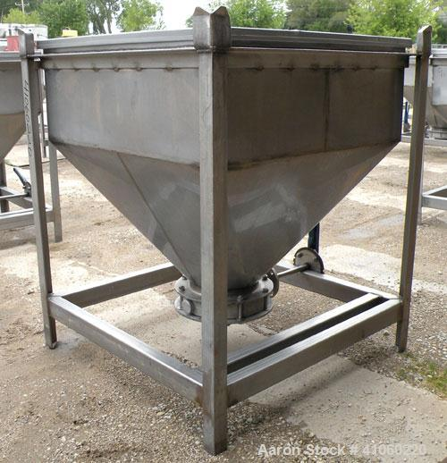 "Used- Dry Tote Bin, Approximately 14 cubic feet capacity, 304 stainless steel. 36"" x 36"" x 14"" straight side x 24"" coned bot..."