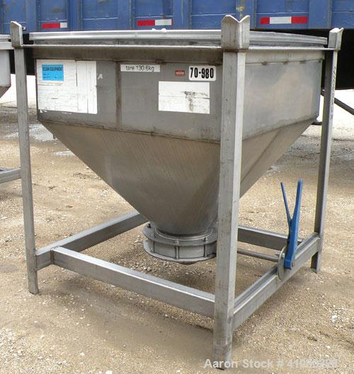 """Used- Dry Tote Bin, approximately 14 cubic feet capacity, 304 stainless steel. 36"""" x 36"""" x 14"""" straight side x 24"""" coned bot..."""