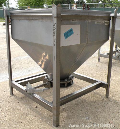 "Used- Dry Tote Bin, approximately 14 cubic feet capacity, 316 stainless steel. 36"" x 36"" x 14"" straight side x 24"" coned bot..."