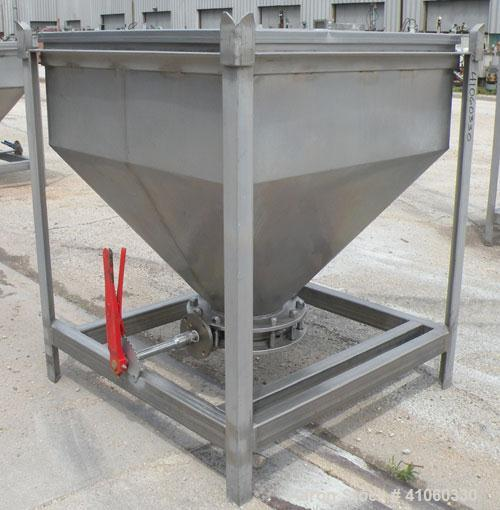 """Used- Dry Tote Bin, approximately 14 cubic feet capacity, 316 stainless steel. 36"""" x 36"""" x 14"""" straight side x 24"""" coned bot..."""