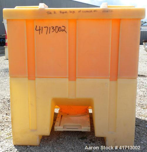 """Used- Tote Bin, Approximately 46.9 Cubic Feet Capacity, Plastic.  44"""" long x 44"""" wide x 43"""" deep.  Flat top with cover.  8-1..."""