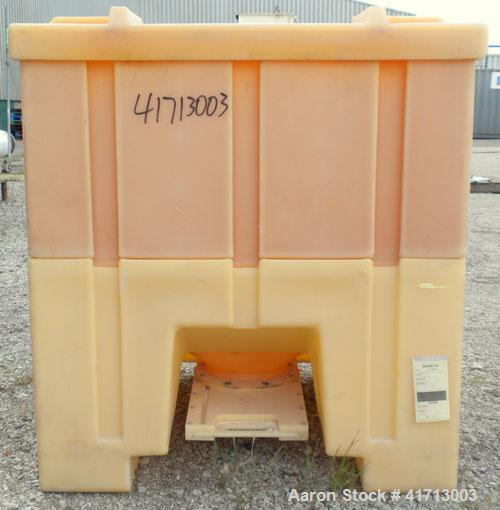 "Used- Tote Bin, Approximately 46.9 Cubic Feet Capacity, Plastic.  44"" long x 44"" wide x 43"" deep.  Flat top with cover.  8-1..."