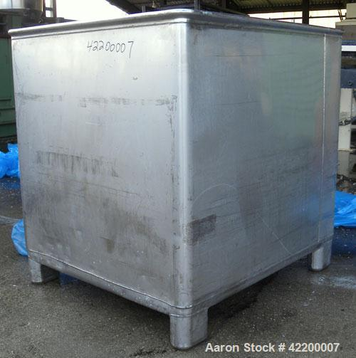 Used- Custom Powder Systems Open Top Rolled Lip Bin, 49.4 cubic feet, 304L stainless steel. 42'' wide x 48'' long x 48'' dee...
