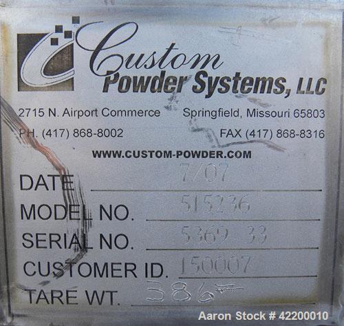 Used- Custom Powder Systems Open Top Rolled Lip Bin, 49.4 subic feet, 304L stainless steel. 42'' wide x 48'' long x 48'' dee...