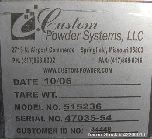 Used- Custom Powder Systems Open Top Rolled Lip Bin, 49.4 cubic feet, 304L stainless steel. 42'' wide x 48'' long x 48'' dee...