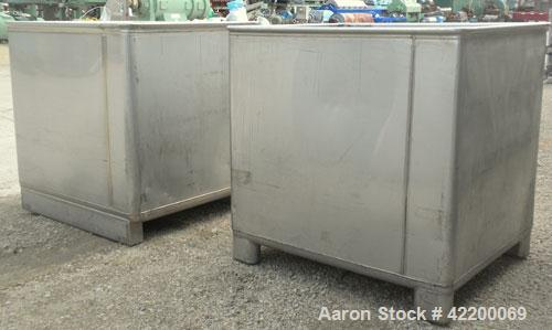 Used- Custom Powder Systems Open Top Rolled Lip Bin, 49.4 cubic feet, 304L stainless seel. 42'' wide x 48'' long x 48'' deep...