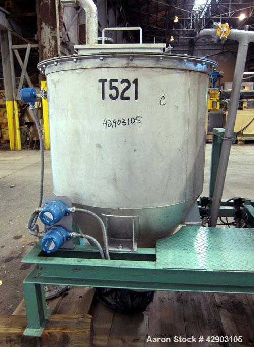 "Used- Hopper/Bin, 304 Stainless Steel. Approximate 21 cubic feet capacity. Approximate 40"" diameter x 29"" straight side x 32..."