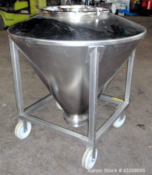 "Used- Tote Bin, approximately 350 liter (12.3 cubic feet), stainless steel. Approximately 48"" diameter x 36'' deep cone with..."
