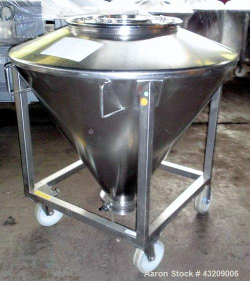 "Used- Tote Bin, approximately 350 liters (12.3 cubic feet), stainless steel. Approximately 48"" diameter x 36'' deep cone wit..."