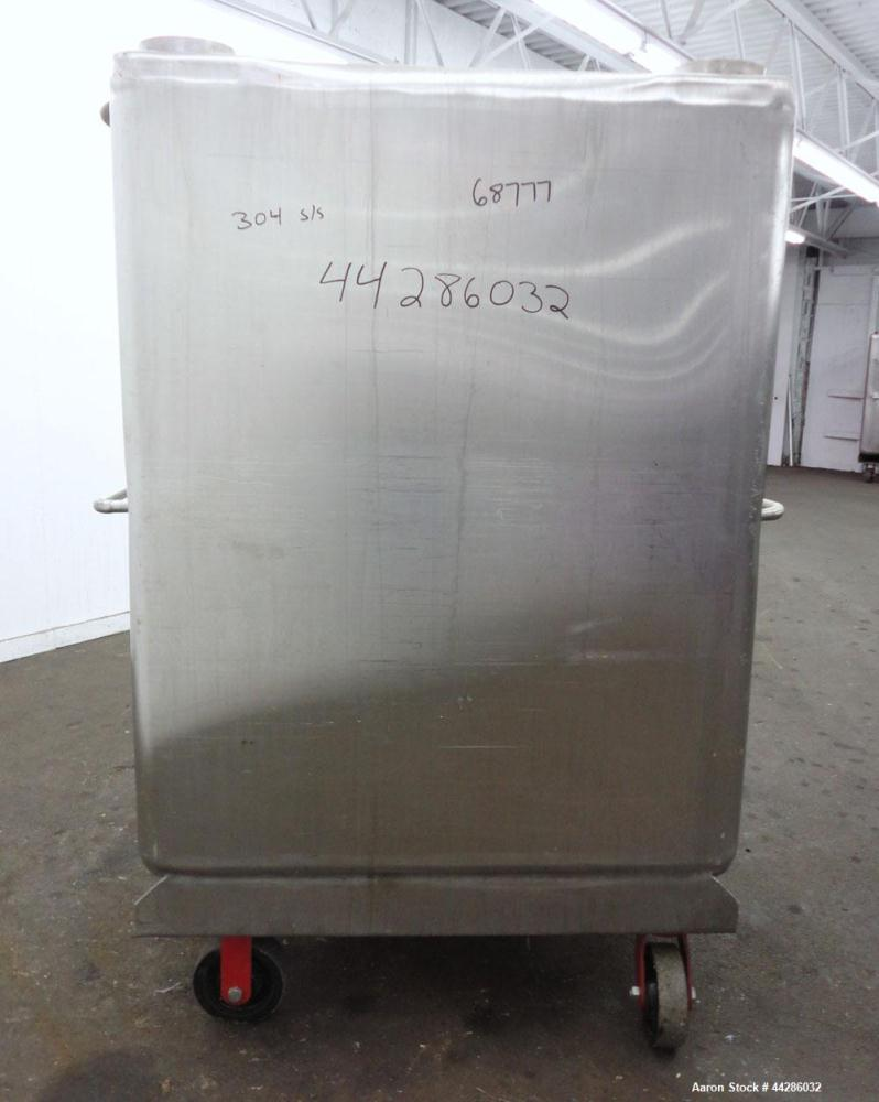 "Used- Portable Tote, 500 Gallon Stainless Steel Single Wall Vertical Portable Tote. 46"" x 40"" with approximate 18"" diameter ..."