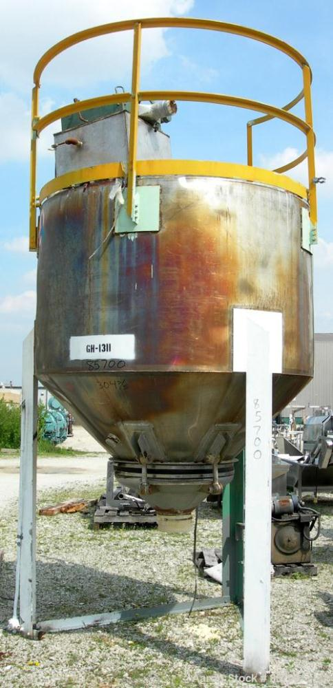 "Used- Product Hopper, approximately 160 cubic feet, 304 stainless steel. 80"" diameter x 52"" straight side x 22"" coned bottom..."