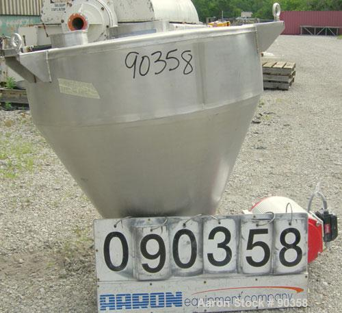Used- Hopper, 304 stainless steel. Approximately 7.3 cubic feet. 37'' diameter x 10'' straight side x 26'' coned bottom. Fla...