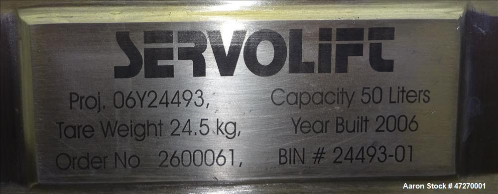 Used- Servolift Intermediate Bulk Container, Approximately 1.7 Cubic Feet (50 li