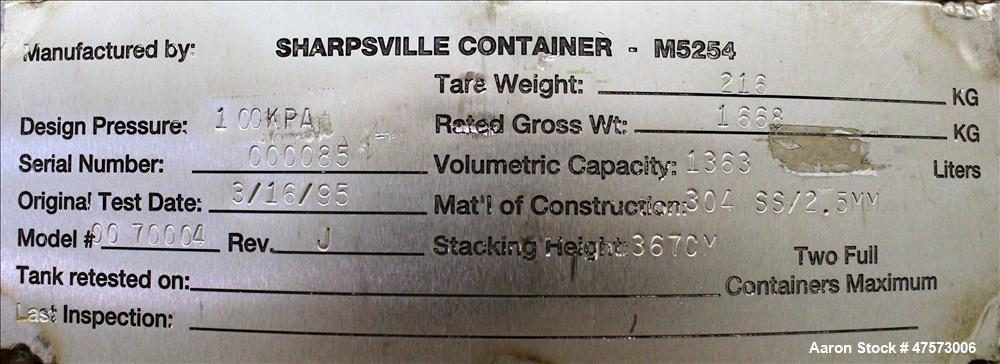 Sharpsville Container Liquid Tote, 48 Cubic Feet (360 Gallon), 304 Stainless Ste