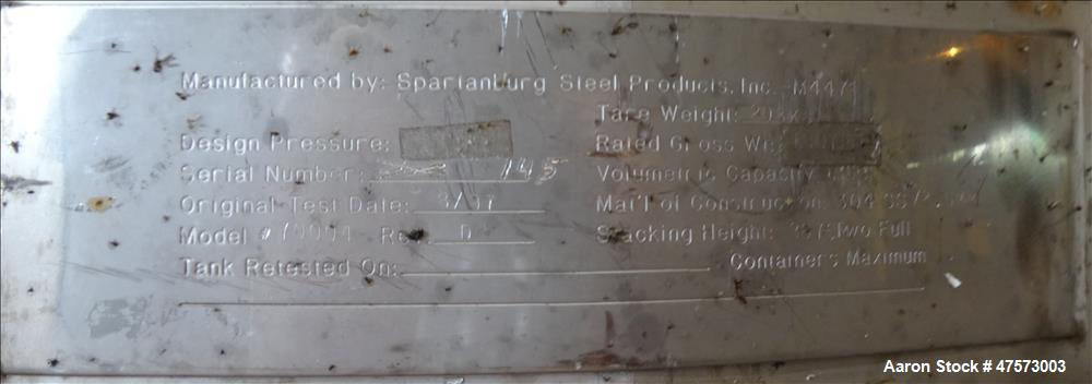 Used- Spartanburg Liquid Tote, 48 Cubic Feet (360 Gallon), 304 Stainless Steel.