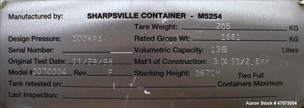 Used- Sharpsville Container Liquid Tote, 48 Cubic Feet (360 Gallon), 304 Stainle