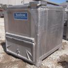 Used- Custom Metal Craft Powder Stackable Tote Bin, Approximately 50 Cubic Feet, Aluminum. 48